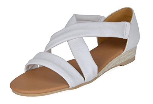 Drøm Parene Kvinners Formosa_8 Lav Plattform Kiler Crossover Sandaler 8 -white