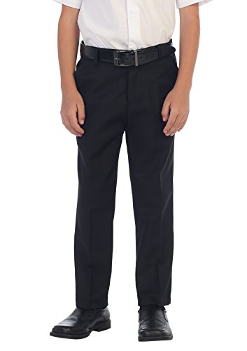 - Gioberti Boys Flat Front Dress Pants, Black, 14