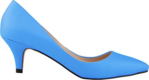 Salabobo Bride Womens Pumps Pointed Night Party Heel Toe Ol Low Pu Blue Bridesmaid Wedding Smart UrUZq1