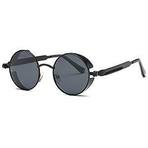 AEVOGUE Polarized Sunglasses Steampunk Round Lens Metal Frame Unisex Glasses AE0519