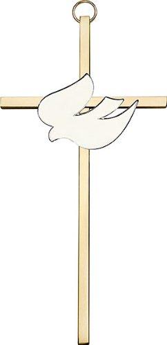 6 inch Polished Brass White Enamel Holy Spirit on a Polished Brass Cross