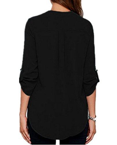 T Maniche Cime Estate Camicie Lunghe Eleganti Donna V Scollo Casuale Maglietta Orlo Shirt Tinta Chiffon Blusa Camicetta Irregolare Unita a4PUw8qd