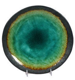 Happy Sales HSTG-DNRPLT, Japanese Turquoise Green Kosui Dinner Plate, 9 1/2 Inch