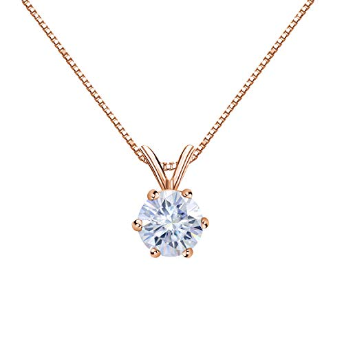 Diamond Wish 14K Rose Gold Round Moissanite Solitaire Pendant 6mm 0.75 TGW in 6-Prong (G-H, Color) 18