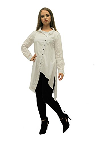 Dzhavael Couture White Blouses for Women Button Down Collared Neck Shirt Long Sleeve (Couture Couture Silk Blouse)