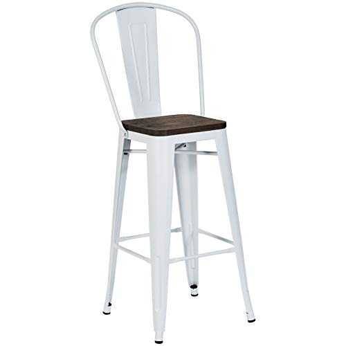 Pioneer Square Midvale 30-Inch Bar-Height Metal Stool with Back Rest, Set of 2, Winter - Stool Back Inch 30 Bar Cross