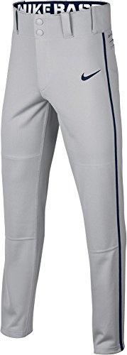 (NIKE Boy's Swoosh Piped Dri-FIT Baseball Pants (Grey/Navy, X-Small))