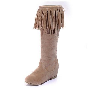 Heart&M Mujer Botas Botas de Equitación Botas de Moda botas slouch Semicuero Invierno Casual Vestido Borla(s) Tacón Cuña Negro Beige Marrón Claro light brown