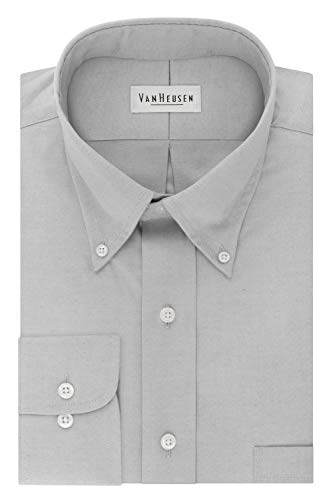 Van Heusen Men's Dress Shirt Regular Fit Non Iron Solid, French Grey, X-Large ()
