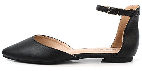 Strap Estive On Slip Punta Cinturino con Scarpe a Shoes Nero AgeeMi Donna Donna 6qPRRI