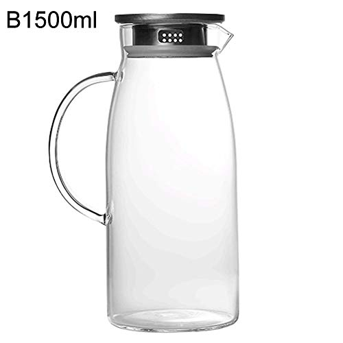 eroute66 1300/1500/2000ml Glass Pitcher Hot/Cold Water Jug Kettle Juice Container Bottle Transparent B ()