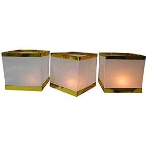 10 pezzi acqua lanterne candele galleggianti Lampion Lanterna con lumino candela colpo di vento luce bianco bordo oro 31wApJEjyZL. SS300