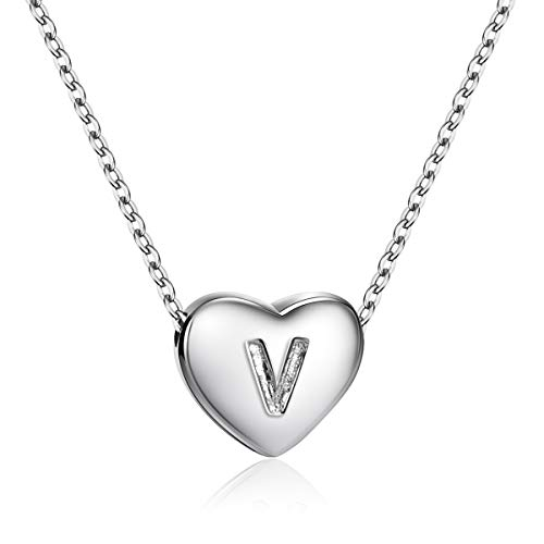 (Dainty Heart Initial Necklace S925 Sterling Silver Letters V Alphabet Pendant Necklace Birthday Gift for Granddaughter)