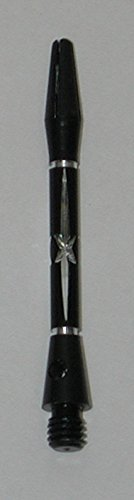 US Darts Diamond Cut STAR Black Dart Shafts - 2 Sets (6 shafts), 2BA Short + O'rings (Dart Diamond)