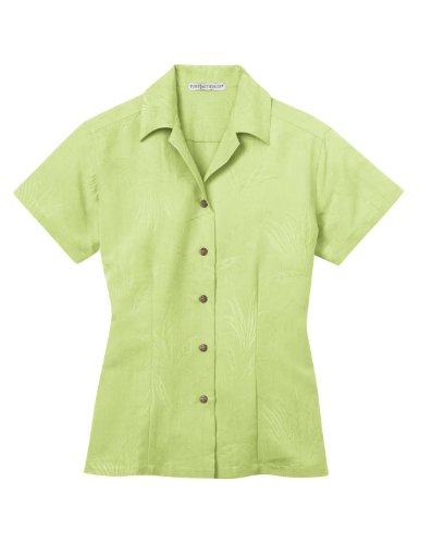 Ladies Patterned Easy Care Camp Shirt - Whisper Green - Large (Easy Care Camp Shirt)