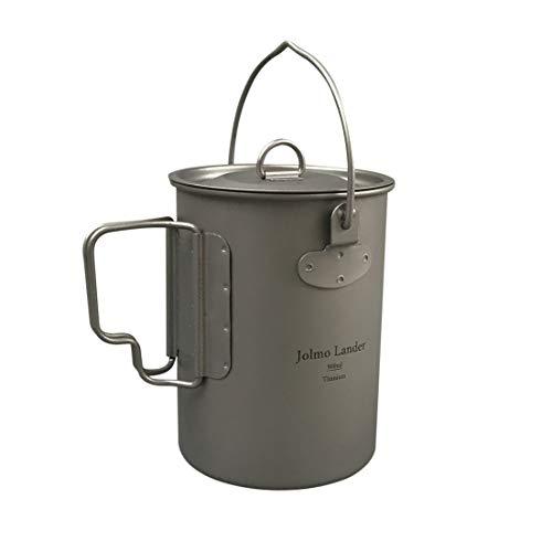 Jolmo Lander Titanium Pot with Bail Handle Outdoor Ultralight Titanium Cookware 900ml