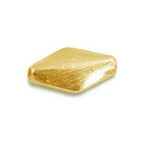 18K Gold Overlay 3D Rhombus Shape Brushed Bead BG-232-16X9MM
