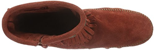 Minnetonka Womens Double Fringe Side Zip Brandy Suede