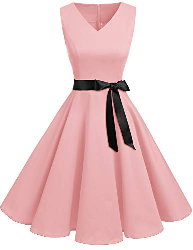 Bridesmay Women's V-Neck Audrey Hepburn 50s Vintage Elegant Floral Rockabilly Swing Cocktail Party Dress Pink XL