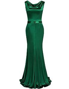 MUXXN Womens 1950s Cowl Neck Fishtail Evening Dress