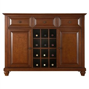 Classic Cherry Wood Finish Dining Room Sideboard Buffet with Wine Storage Buffet Wine Storage Table Rack Furniture Console Server Cabinet Kings Brand ()