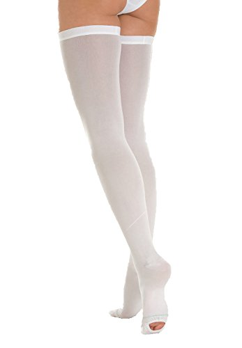 ITA-MED Anti Embolism Thigh Highs, 18 mmHg Light Compression Stockings Socks w/Opening, Medical Orthopedic Support Hose for Varicose Veins, Edema, Swelling, Soreness, Pains, and Aches, H-500 - Anti Embolism Toe Stockings