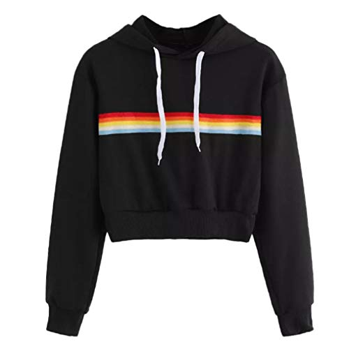 Pullover Tops-Han Shi Womens Rainbow Patchwork Soft Sweatshirt Casual Hooded Blouse (Black, S)