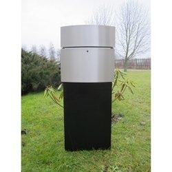 SafePost 128 LED Standbriefkasten schwarz mit Edelstahlfront 100 x 40 cm