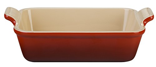 Le Creuset Heritage Stoneware 12-by-9-Inch Rectangular Dish, Cerise (Cherry (Le Creuset Rectangular Pan)