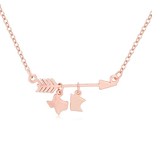 (MANZHEN Arrow Texas to Minnesota Necklace Two State Necklace (Rose Gold))