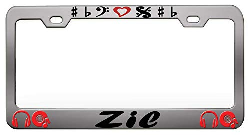 (Zil Music And Instruments Chrome Steel Metal License Auto Tag, License Plate Frame)