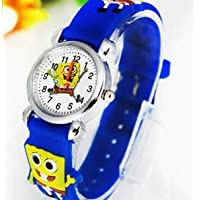 Sünger BOB Figürlü, 3D Kabartmalı, Silikon Kayışlı Çocuk Saati (Mavi)