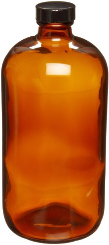 Safety Coated Bottles - Wheaton 220956 Safety Coated Bottle, Boston Round Style, Amber Glass, 32oz With 33-400 Black Phenolic Poly-Seal Lined Screw Cap, 96mm x 210mm (Case of 12)