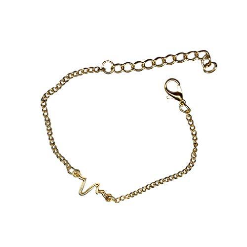 Gahrchian Hearts Bracelet Bangle Minimalism Lady Valentine's Day Girl Sister Mother Friends Jewelry (Golden)