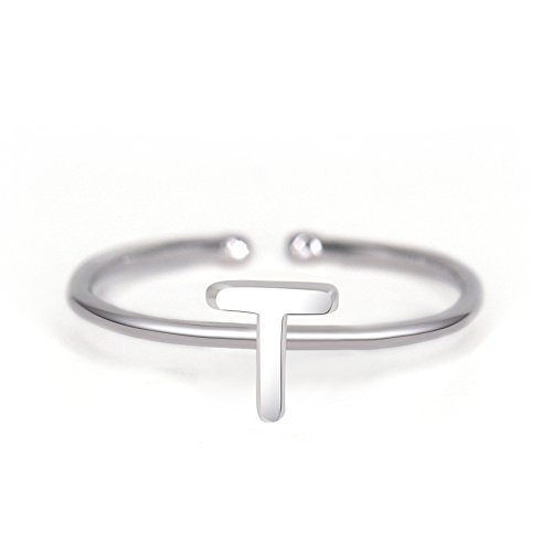 Rhohdium Plated Sterling Silver 925 Stackable Initial Ring Alphabet Letter Knuckle Rings Bridesmaid (Letter Ring Initial)