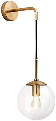 KCO Lighting Mid Century Modern Wall Light Minimalist Adjustable Raw Brass Round Glass Fixture Reading Lamp Clear Lampshade