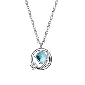 ANAZOZ Blue Glass Women Necklace Jewelry with Zirconia Pendant 925 Silver, Gifts for Girlfriend and Mom