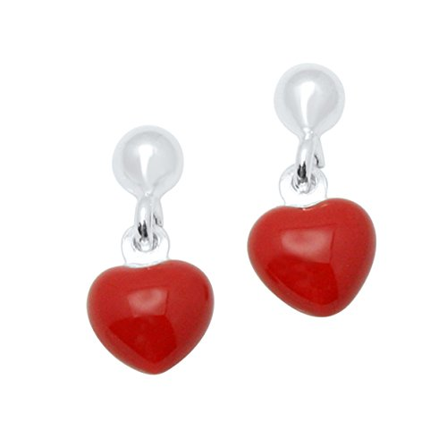 UNICORNJ Sterling Silver 925 Childrens Earrings with Enamel Red Heart Charm Italy