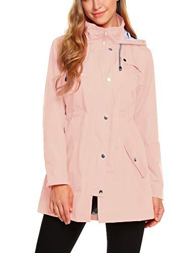 ZHENWEI Womens Lightweight Hooded Waterproof Active Outdoor Rain Jacket Pink M