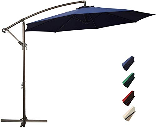 Project One 10ft Patio Offset Cantilever Umbrella Market Umbrellas Outdoor Umbrella with Crank & Cross Base for Garden, Deck,Backyard and Pool (Navy)