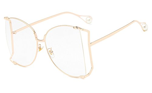 OVERSIZED Rimless VINTAGE Butterfly Style Clear Lens Gold Frame Eye (Butterfly Glasses)