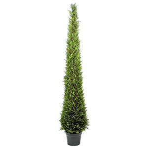 Admired by Nature 6' Artificial Cypress Leave Tower Cone Topiary Plant Tree in Plastic Pot, Green 46