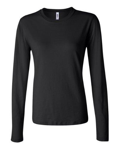 Bella Womens Long-Sleeve Crew Jersey T-Shirt 6500, XX-Large, Black