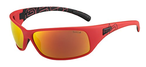 Bolle Recoil Sunglasses, Matte Black/Red Polarized TNS Fire Oleo - Polarized Bolle Recoil