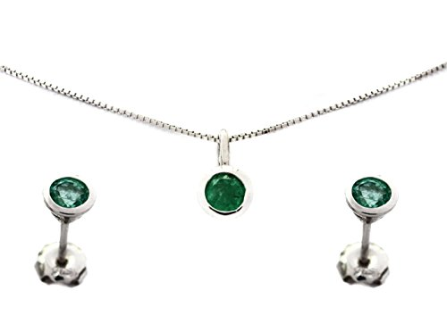 Green Emerald Natural (Deoro Joyeria Emerald Jewelry Set: Natural Genuine Stud Earrings Pendant Necklace Round Shape Stone May Birthstone Green, Sterling Silver 925 17.5