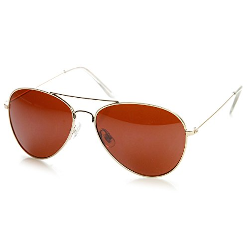 zeroUV - Blue Block Driving Lens Full Metal Teardrop Aviator Sunglasses (Gold Brown)