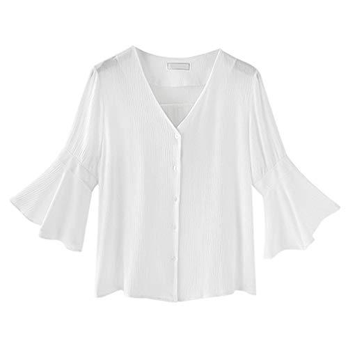 Xinwcanga Unie Volants Shirt Blanc Col Casual Blouse Loose Couleur Femmes T Manchon V OYO1fr