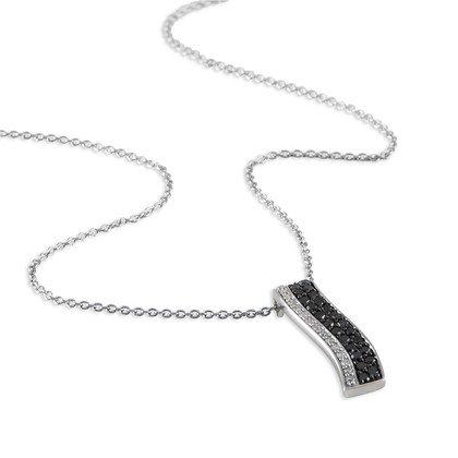 HISTOIRE D'OR - Collier Or Blanc Vagues et Diamants - Femme - Or blanc 375/1000 - Taille Unique