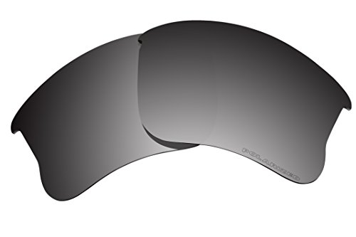 BVANQ Lenses Replacement Polarized for Oakley Flak Jacket XLJ Sunglasses (Black Iridium Mirror - Jacket Only Frame Flak Xlj