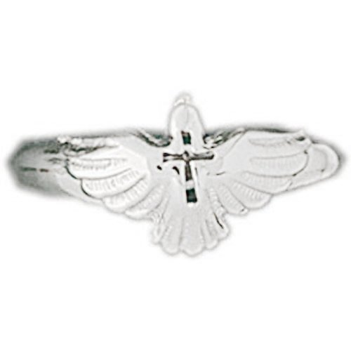 (Jewels Obsession Dove With Cross Rings | 14K White Gold Dove With Cross Ring - Made in USA (Custom Sizes Available 4-11) )